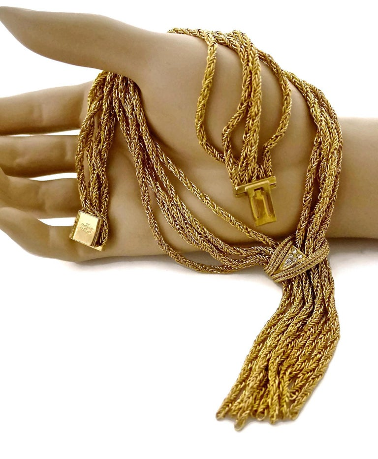 Vintage 1967 CHRISTIAN DIOR Cascading Multi Chain Rhinestone Tassel Necklace For Sale 2