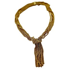 Vintage 1967 CHRISTIAN DIOR Cascading Multi Chain Rhinestone Tassel Necklace