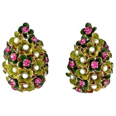 Vintage 1967 CHRISTIAN DIOR Cluster Enamel Flower Pearl Rhinestone Earrings