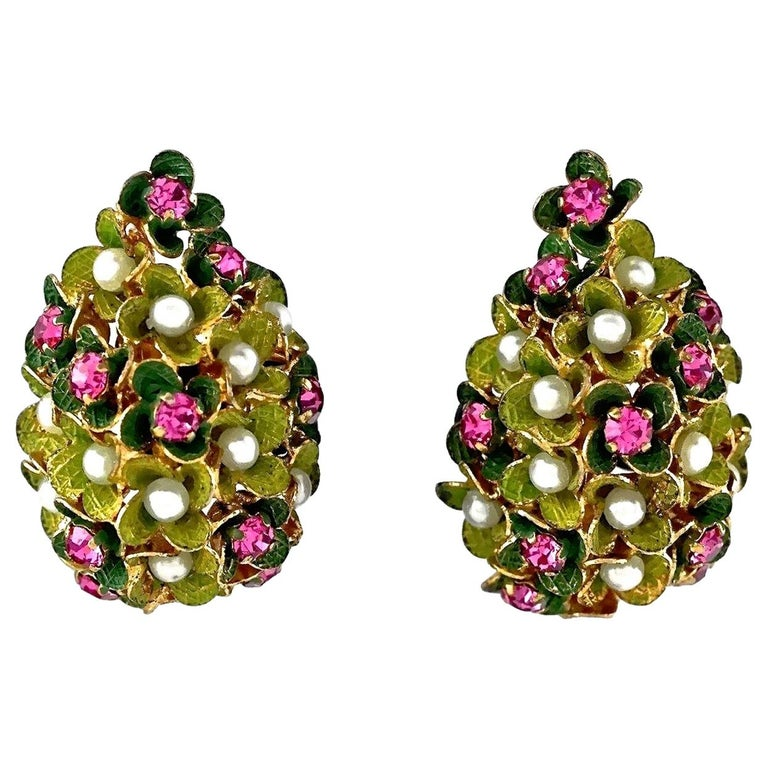 Vintage 1967 CHRISTIAN DIOR Cluster Enamel Flower Pearl Rhinestone Earrings For Sale