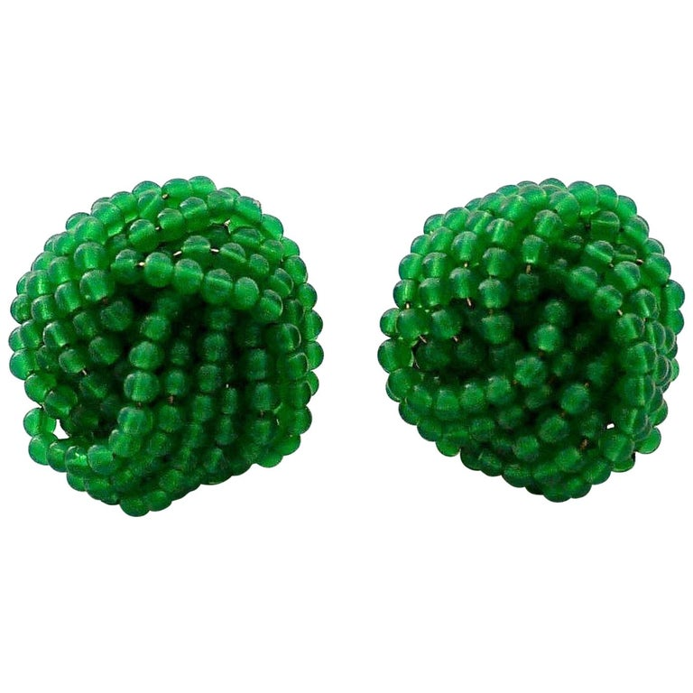 Vintage 1967 CHRISTIAN DIOR Knotted Emerald Glass Beads Earrings For Sale