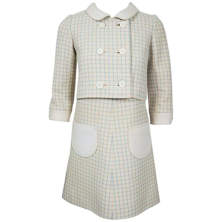 Vintage 1967 Courreges Couture Creme Blue Checkered Wool Mod Dress & Jacket For Sale
