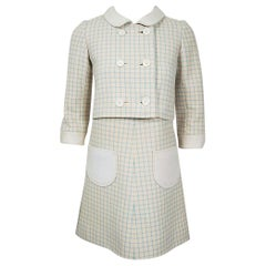 Vintage 1967 Courreges Couture Creme Blue Checkered Wool Mod Dress & Jacket