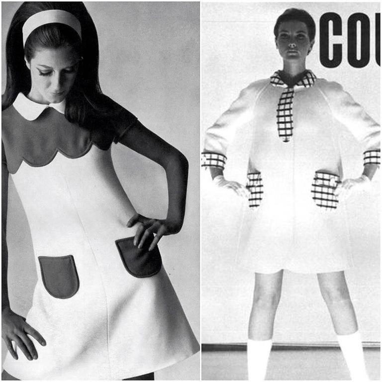 Vintage 1967 Courreges Couture Navy Ivory Checkered Wool Space-Age Mini Dress For Sale 7