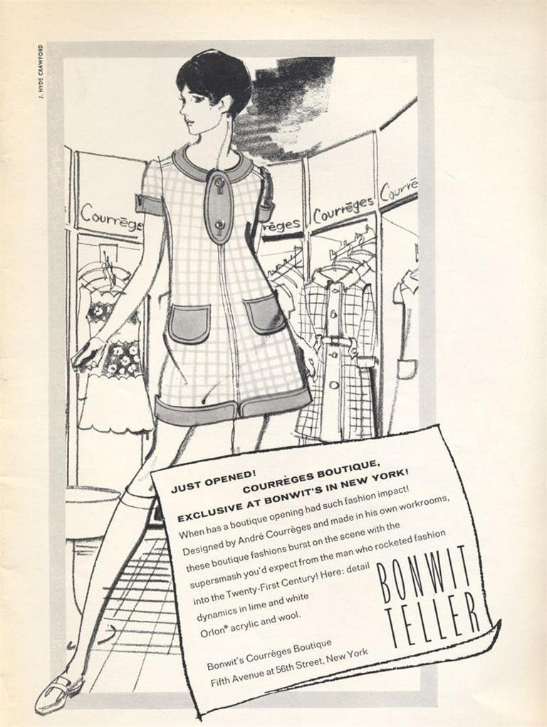 Andre Courreges launched his Space-Age collection in 1964. The shapes of his clothes were geometric: squares, trapezoids, triangles. The main features of his ultra-modern, uncluttered look spread quickly throughout the fashion world, especially the