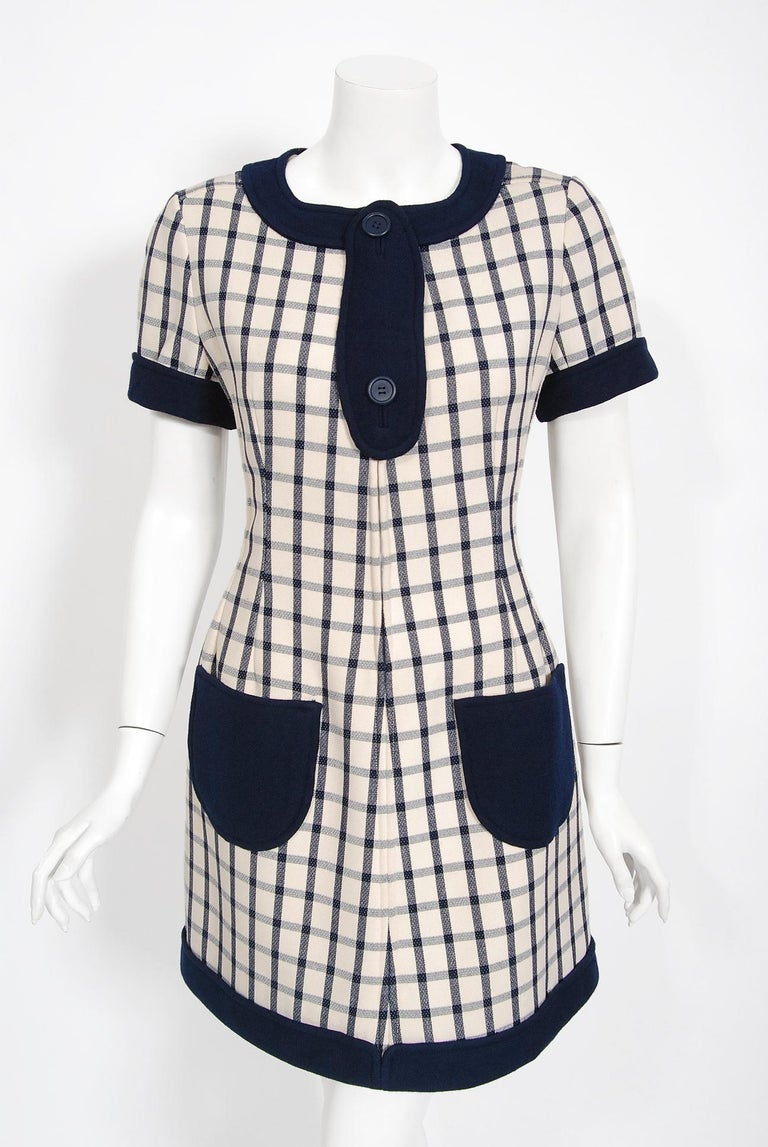 Gray Vintage 1967 Courreges Couture Navy Ivory Checkered Wool Space-Age Mini Dress For Sale