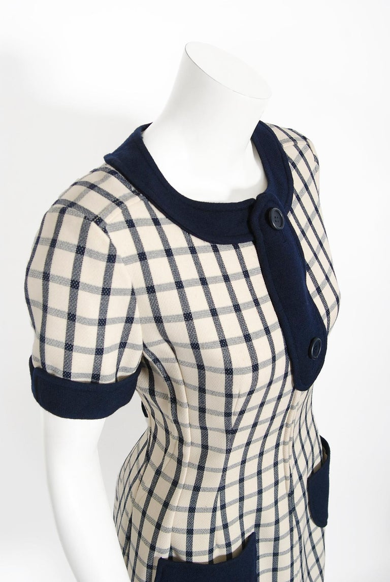 Vintage 1967 Courreges Couture Navy Ivory Checkered Wool Space-Age Mini Dress For Sale 1