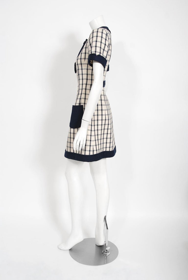 Vintage 1967 Courreges Couture Navy Ivory Checkered Wool Space-Age Mini Dress For Sale 2