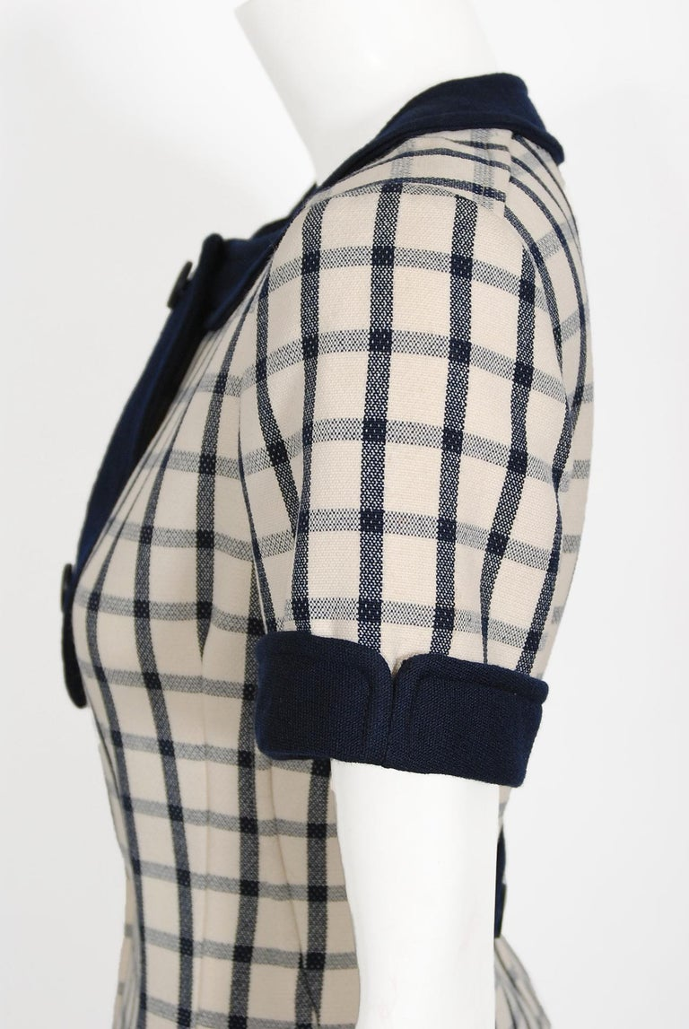 Vintage 1967 Courreges Couture Navy Ivory Checkered Wool Space-Age Mini Dress For Sale 3