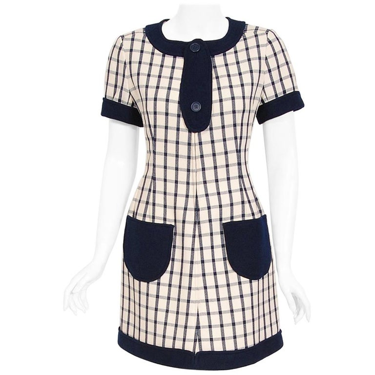 Vintage 1967 Courreges Couture Navy Ivory Checkered Wool Space-Age Mini Dress For Sale