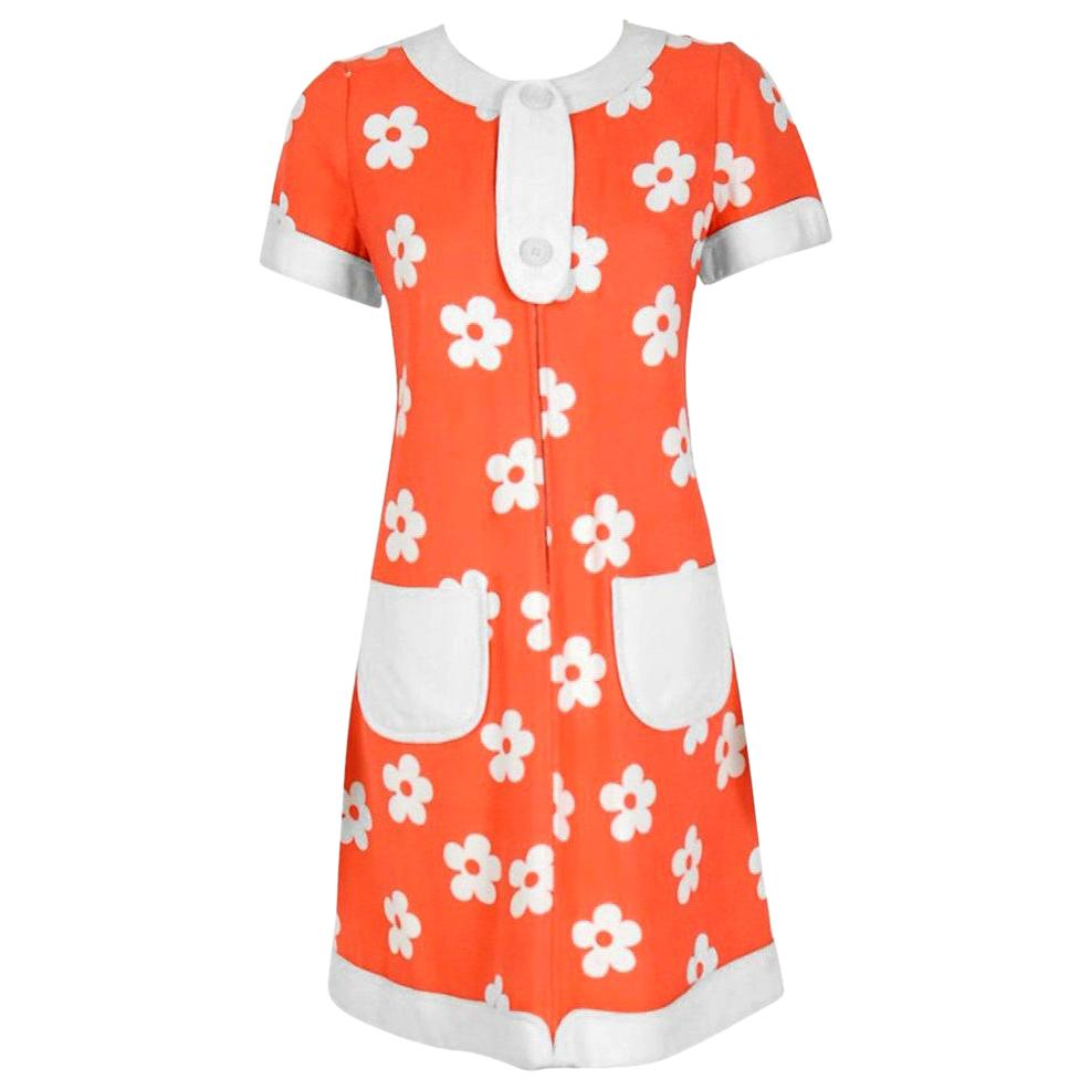 Vintage 1967 Courreges Couture Orange and White Bold Floral Print Silk Mod Dress
