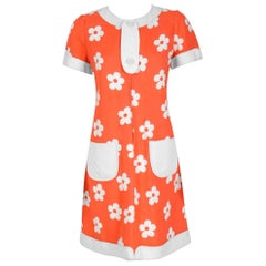 Vintage 1967 Courreges Couture Orange and White Floral Print Silk Mod Dress