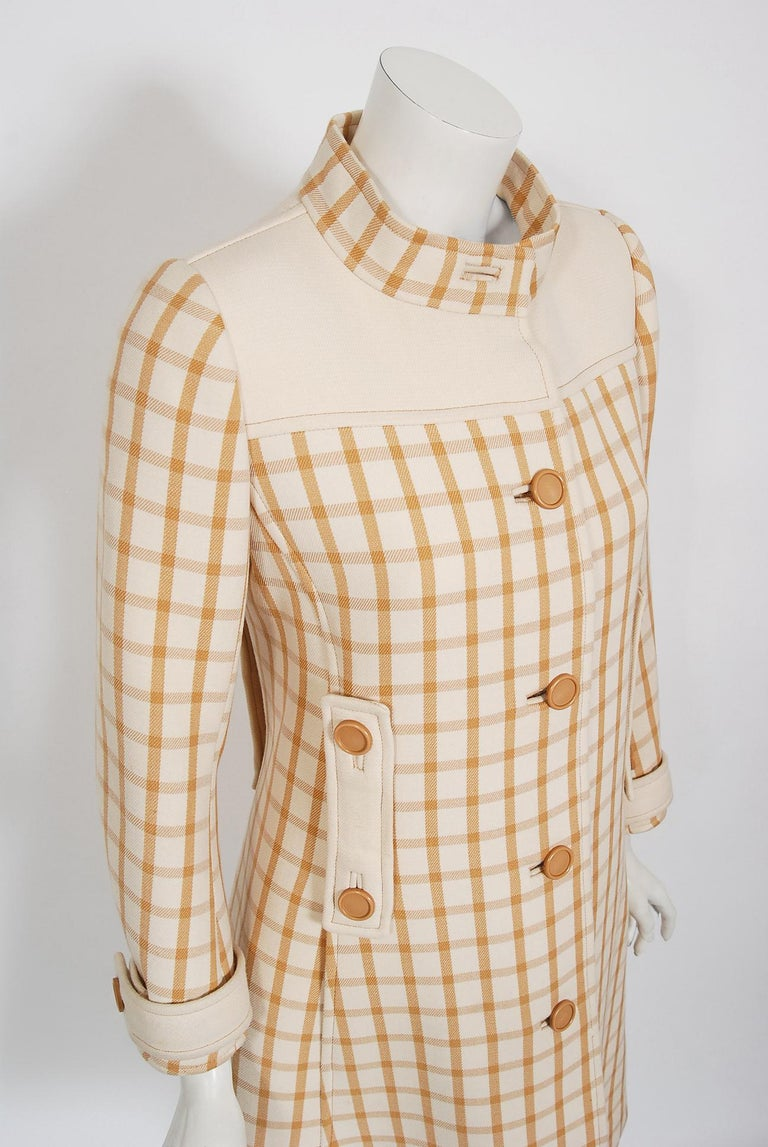 Beige Vintage 1967 Courreges Couture Tan and Ivory Checkered Wool Mod Jacket Coat   For Sale