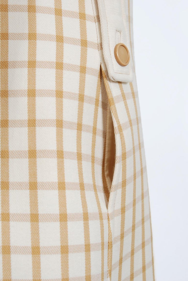 Women's Vintage 1967 Courreges Couture Tan and Ivory Checkered Wool Mod Jacket Coat   For Sale