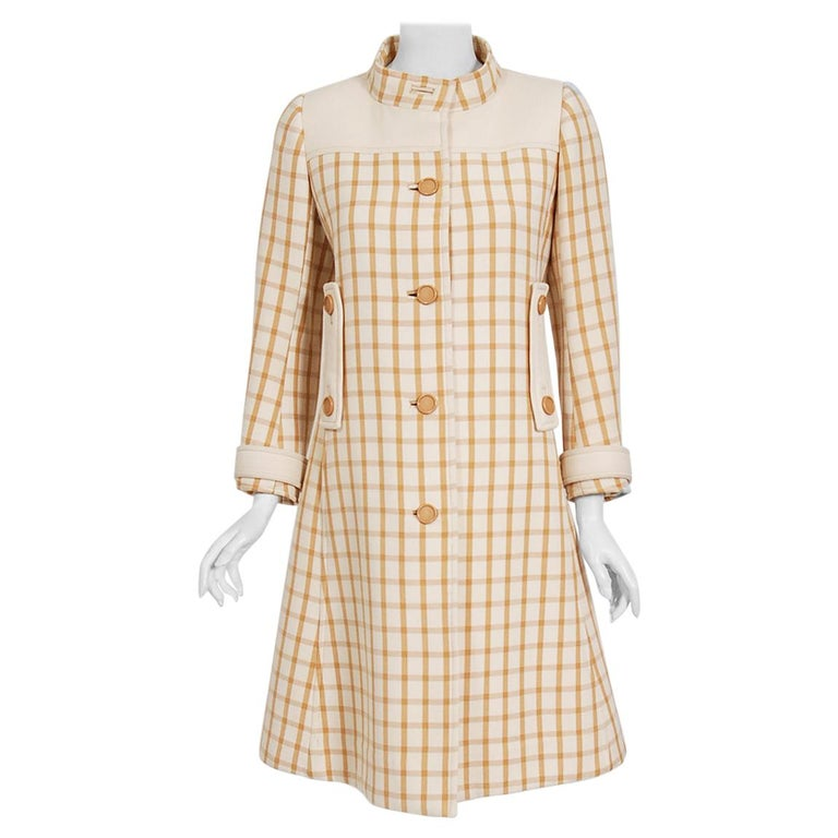 Vintage 1967 Courreges Couture Tan and Ivory Checkered Wool Mod Jacket Coat   For Sale
