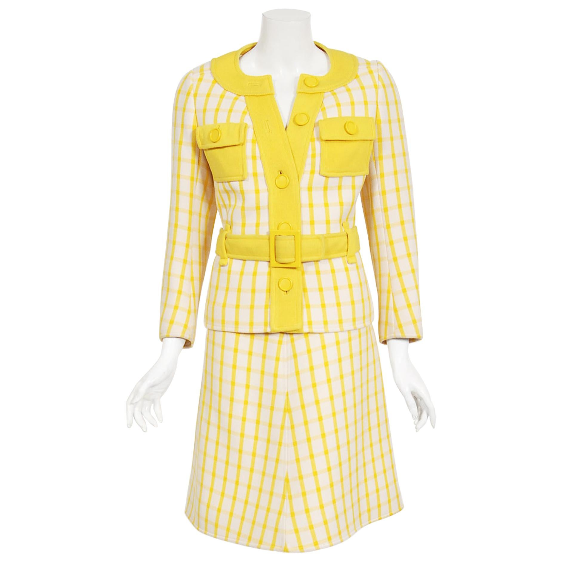 Vintage 1967 Courreges Couture Yellow White Checkered Wool Belted Jacket & Skirt