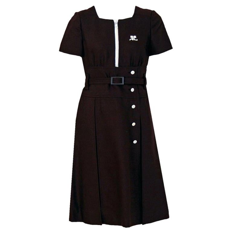 Vintage 1967 Courreges Numbered Couture Brown Silk Mod Belted Space-Age Dress