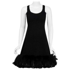 Vintage 1967 Geoffrey Beene Documented Black Wool & Feather Cocktail Dress