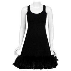 Vintage 1967 Geoffrey Beene Documented Black Wool & Feather Cocktail Dress