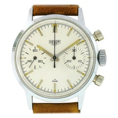 Vintage 1967 Heuer 7721 Manual Chronograph Wrist Watch Valjoux 7730 w/ Mint Case