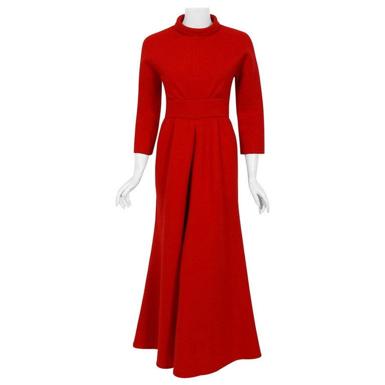 Vintage 1967 Nina Ricci Haute Couture Ruby Red Wool Full-Length Mod Jumpsuit For Sale