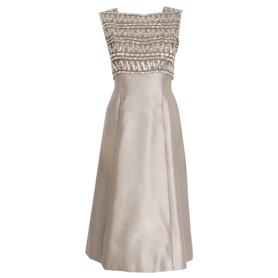 Vintage 1967 Pierre Balmain Haute-Couture Beaded Lesage Satin Dress and Jacket