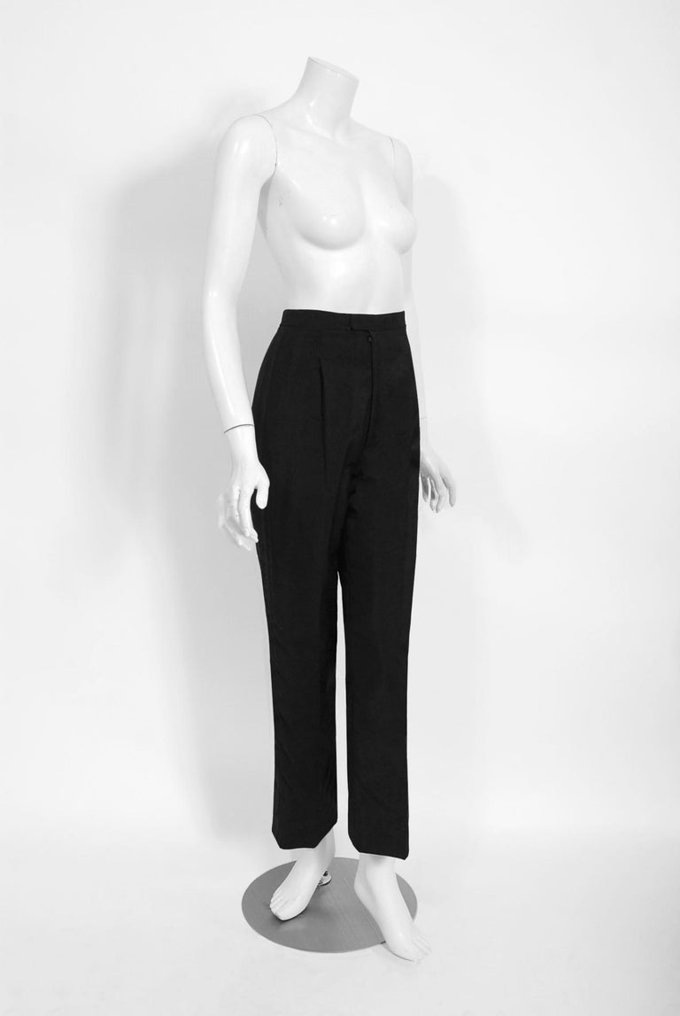 Vintage 1968 Yves Saint Laurent Le Smoking Tuxedo Black Gabardine Pant Suit For Sale 6