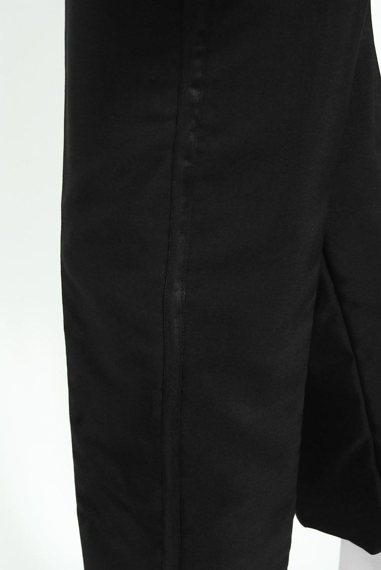 Vintage 1968 Yves Saint Laurent Le Smoking Tuxedo Black Gabardine Pant Suit For Sale 7
