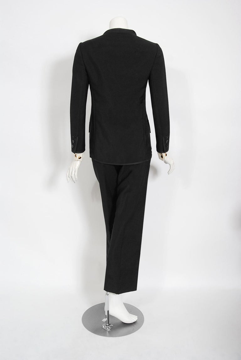 Vintage 1968 Yves Saint Laurent Le Smoking Tuxedo Black Gabardine Pant Suit For Sale 8