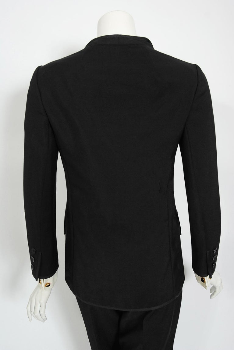 Vintage 1968 Yves Saint Laurent Le Smoking Tuxedo Black Gabardine Pant Suit For Sale 9