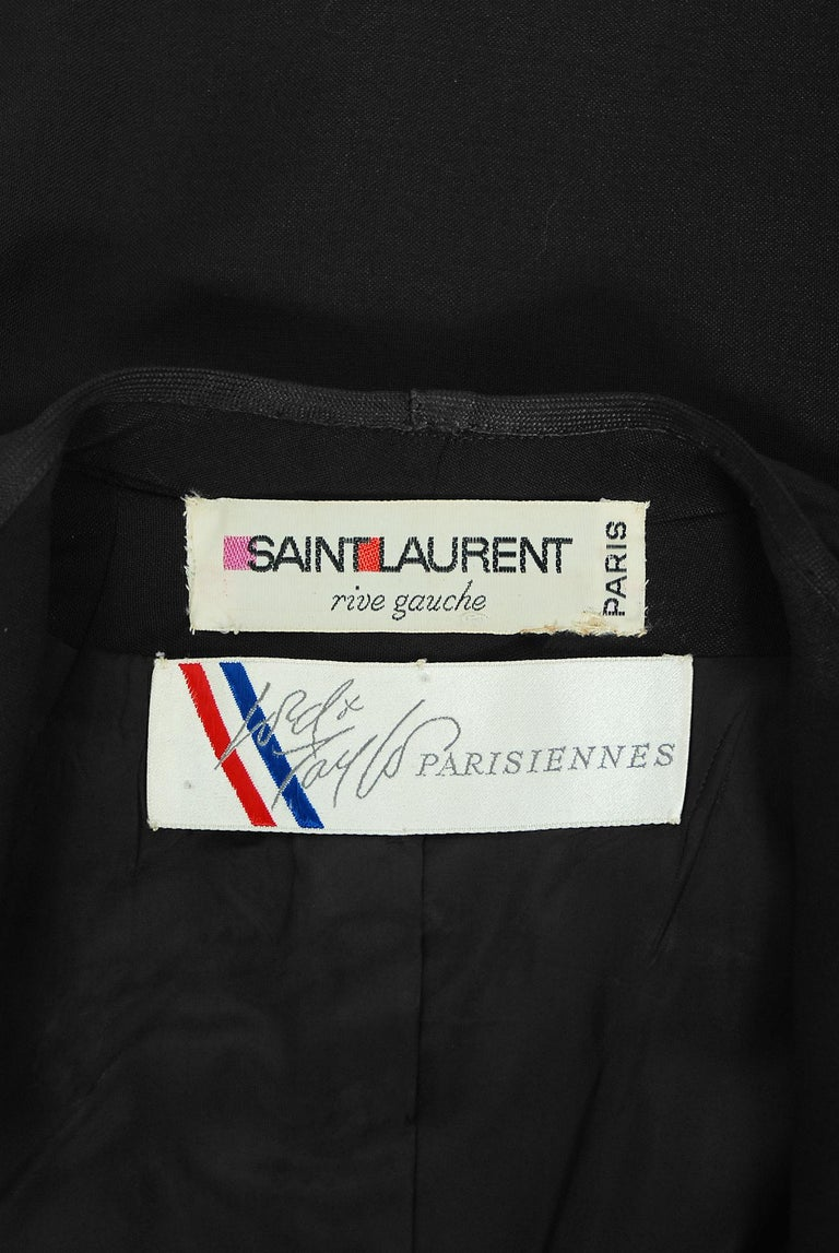 Vintage 1968 Yves Saint Laurent Le Smoking Tuxedo Black Gabardine Pant Suit For Sale 10