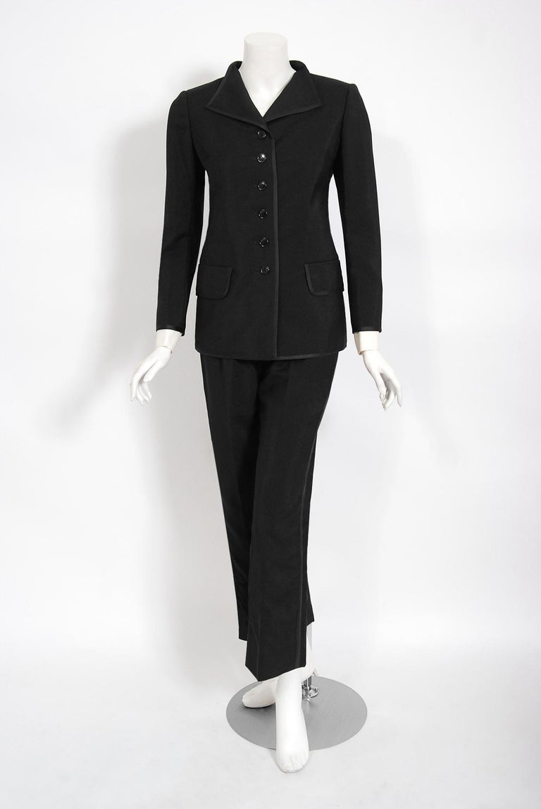 Vintage 1968 Yves Saint Laurent Le Smoking Tuxedo Black Gabardine Pant Suit In Good Condition For Sale In Beverly Hills, CA