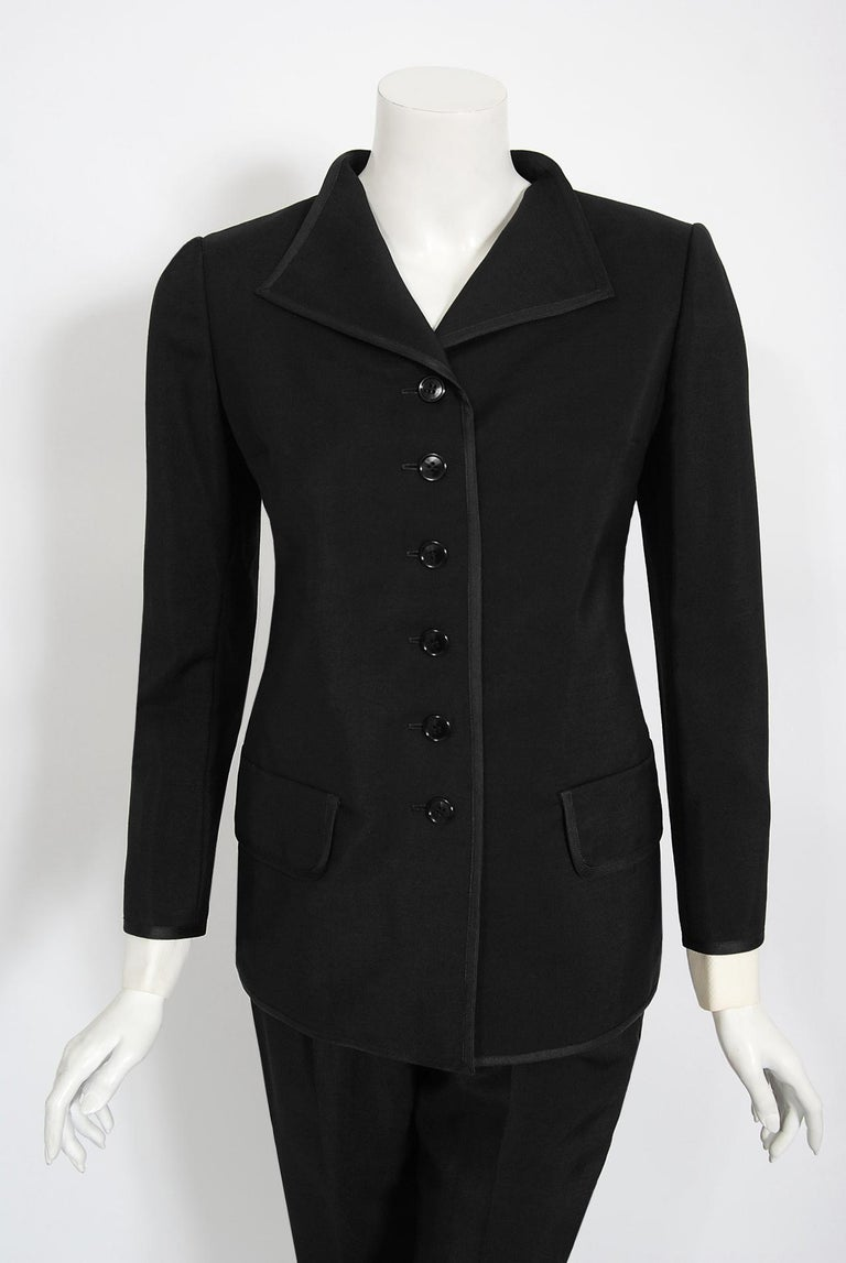 Women's Vintage 1968 Yves Saint Laurent Le Smoking Tuxedo Black Gabardine Pant Suit For Sale