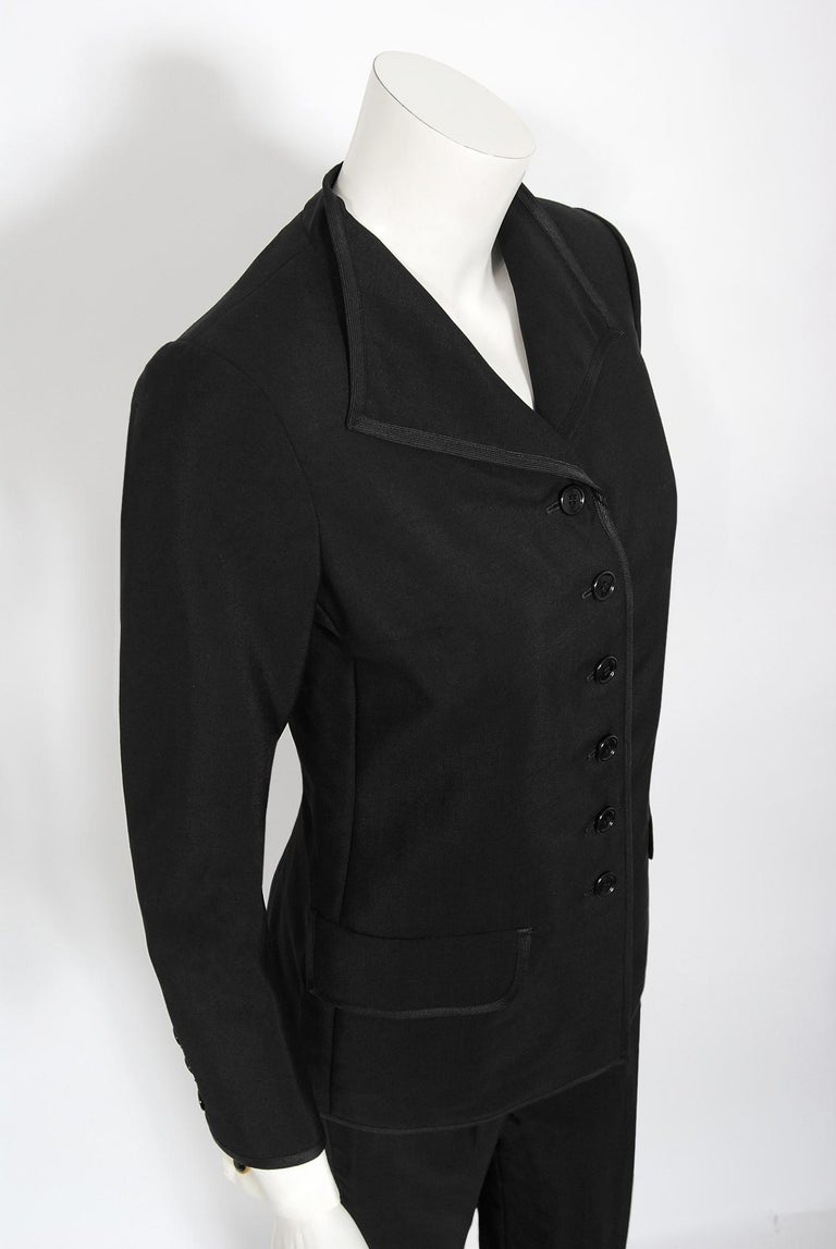 Vintage 1968 Yves Saint Laurent Le Smoking Tuxedo Black Gabardine Pant Suit For Sale 1
