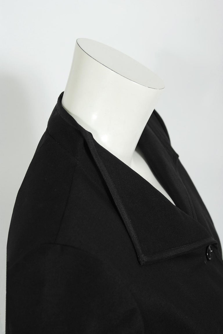 Vintage 1968 Yves Saint Laurent Le Smoking Tuxedo Black Gabardine Pant Suit For Sale 2