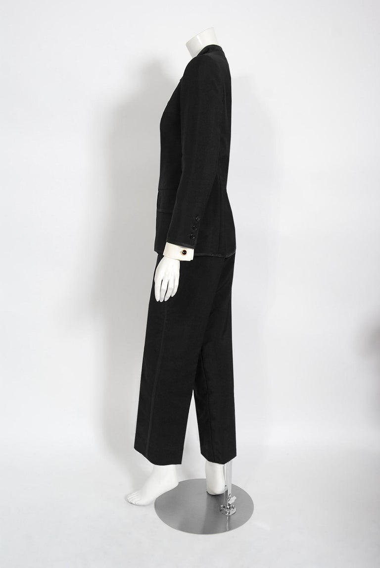 Vintage 1968 Yves Saint Laurent Le Smoking Tuxedo Black Gabardine Pant Suit For Sale 3