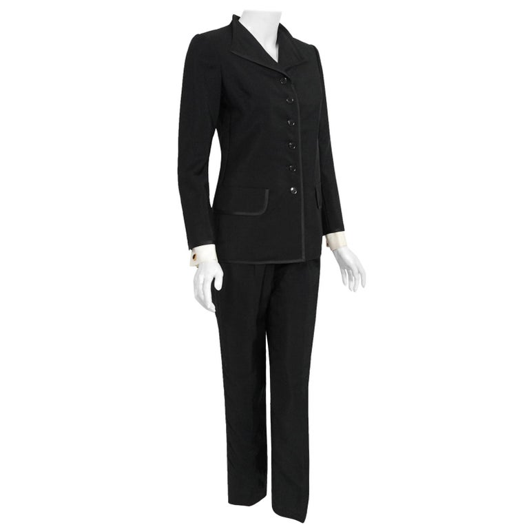 Vintage 1968 Yves Saint Laurent Le Smoking Tuxedo Black Gabardine Pant Suit For Sale