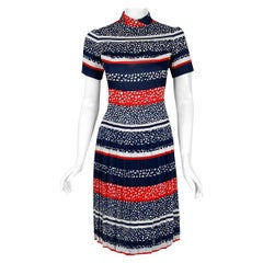Vintage 1968 Christian Dior Couture London Stripe Silk Pleated Drop-Waist Dress