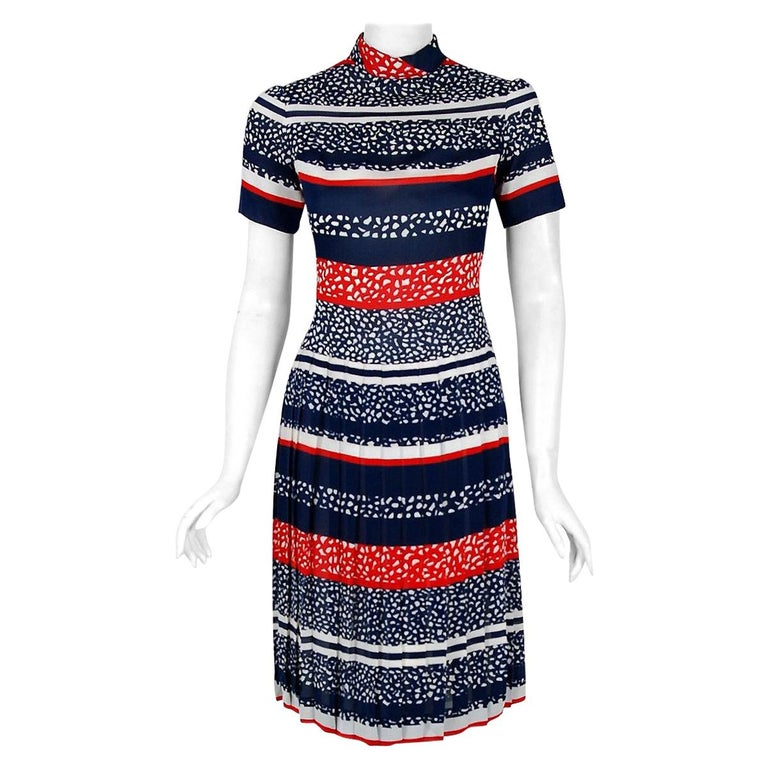 Vintage 1968 Christian Dior Couture London Stripe Silk Pleated Drop-Waist Dress For Sale