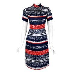 Vintage 1968 Christian Dior Couture London Stripe Silk Pleated Drop-Waist Dress