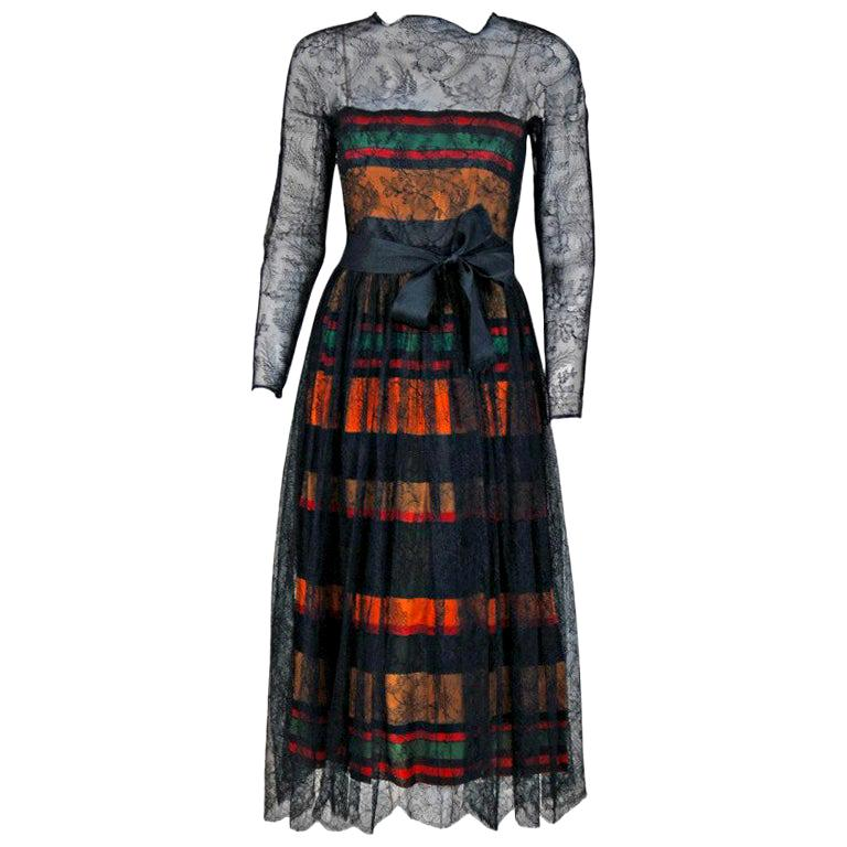 Vintage 1968 Geoffrey Beene Chantilly Lace Colorful Striped Silk Illusion Dress For Sale