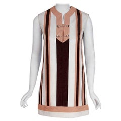 Vintage 1968 Gucci Couture Cotton-Pique Striped Ivory Pink Mini Tunic Dress