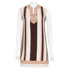 Vintage 1968 Gucci Couture Cotton-Pique Striped Ivory Pink Mod Mini Tunic Dress