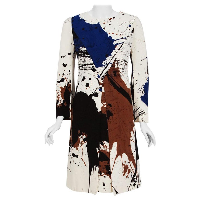 Vintage 1968 Hanae Mori Couture Abstract Splatter Print Silk Long-Sleeve Dress For Sale