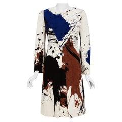 Vintage 1968 Hanae Mori Couture Abstract Splatter Print Silk Long-Sleeve Dress