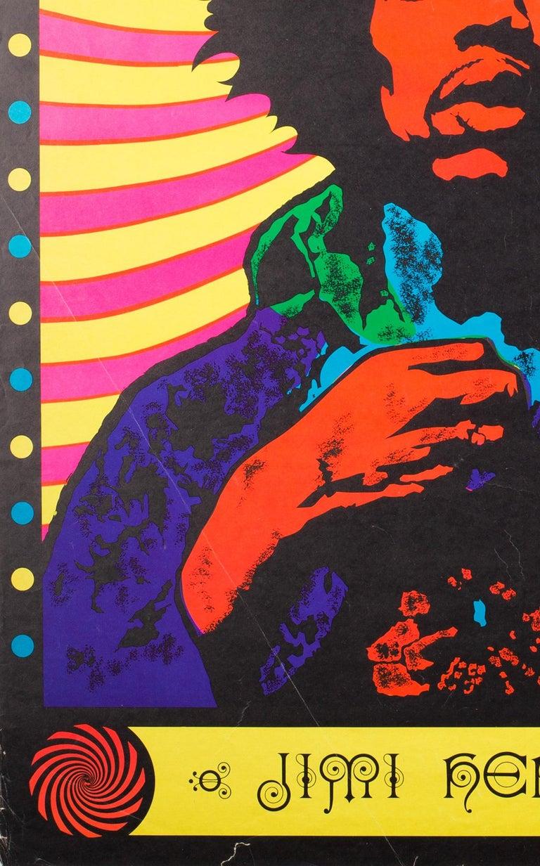 Vintage 1968 Jimi Hendrix Blacklight Poster at 1stdibs