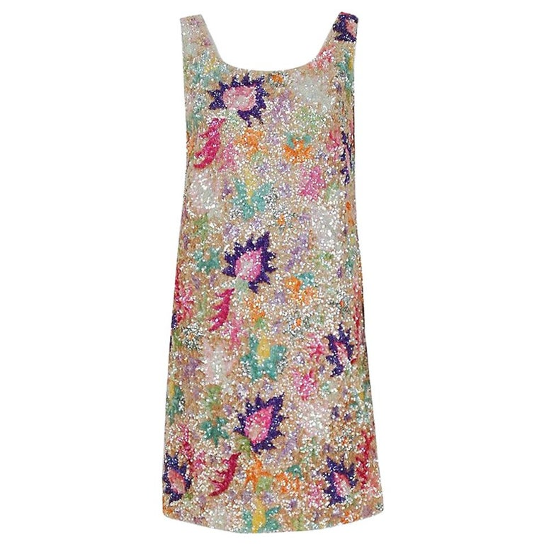 Vintage 1968 Marbel Madrid Couture Beaded Sequin Floral Silk Sleeveless Dress For Sale