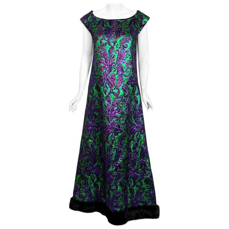 Vintage 1968 Oscar de la Renta for Jane Derby Green Purple Brocade Mink Fur Gown For Sale