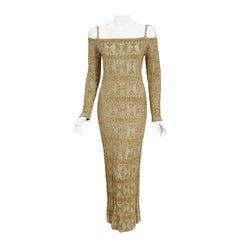 Vintage 1968 Rudi Gernreich Metallic Gold Silver Geometric Knit Cut-Out Gown