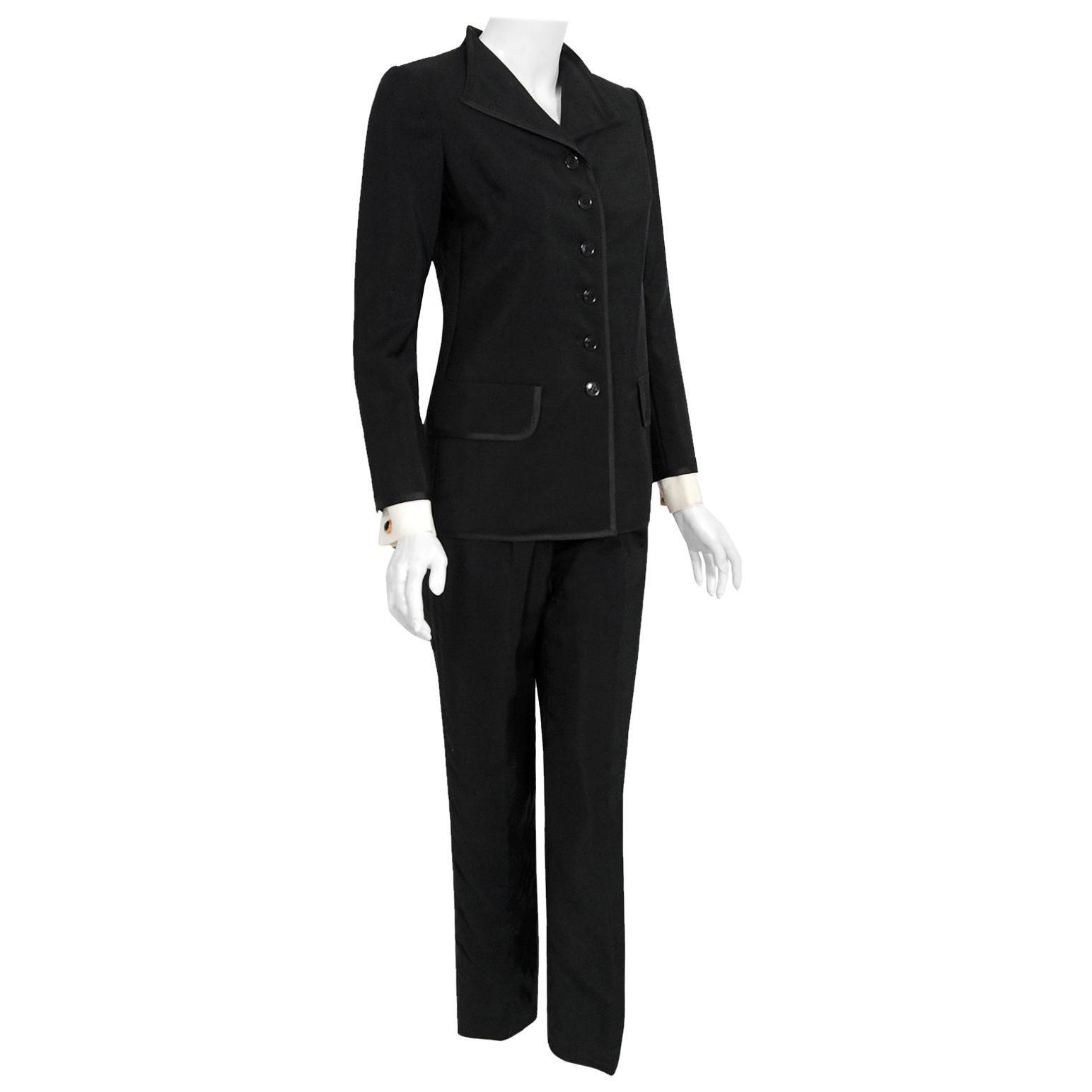 Vintage 1968 Yves Saint Laurent Le Smoking Tuxedo Black Gabardine Pant Suit